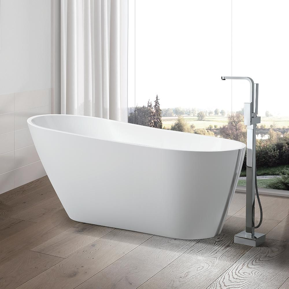 Vanity Art Colombes 67 In Acrylic Flatbottom Freestanding Bathtub In White Va6522 The Home Depot Free Standing Bath Tub Free Standing Tub Stand Alone Tub