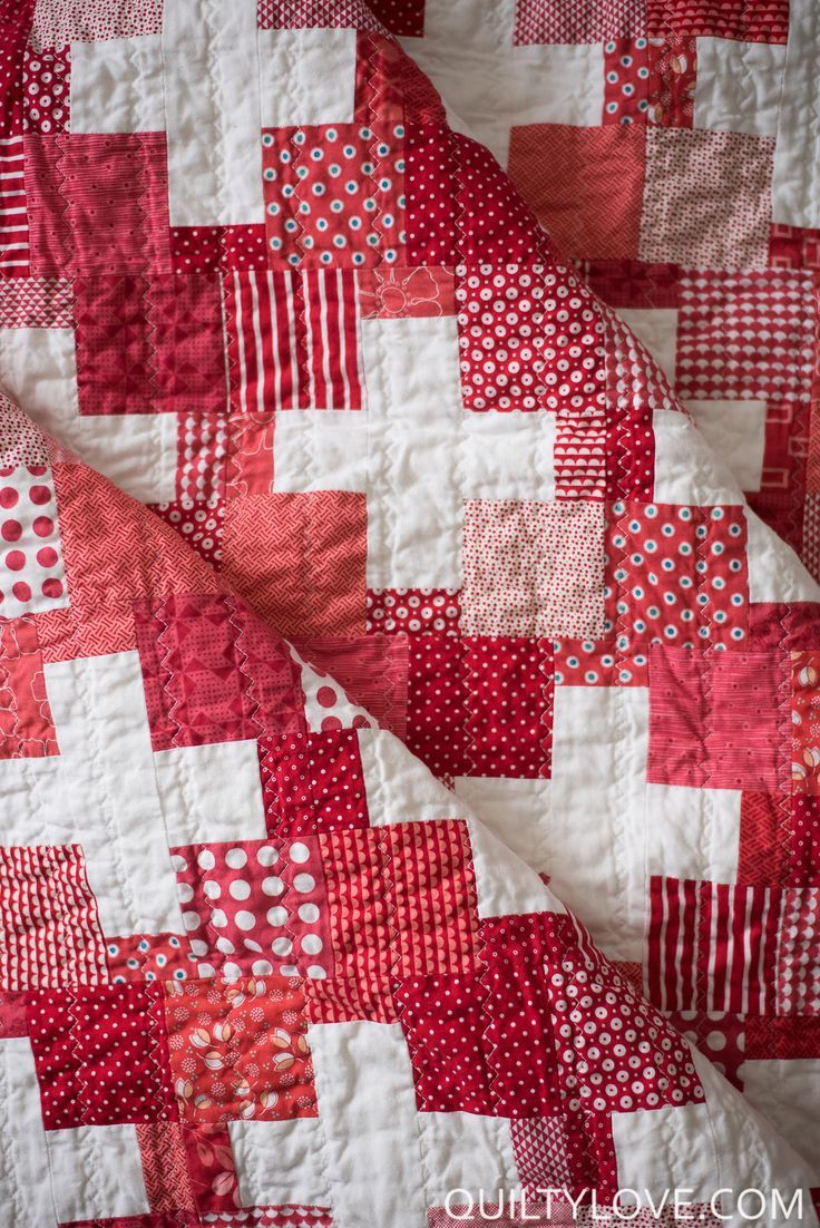 Quilty Love | Red Scrappy Swiss Plus Quilt | http://www.quiltylove.com
