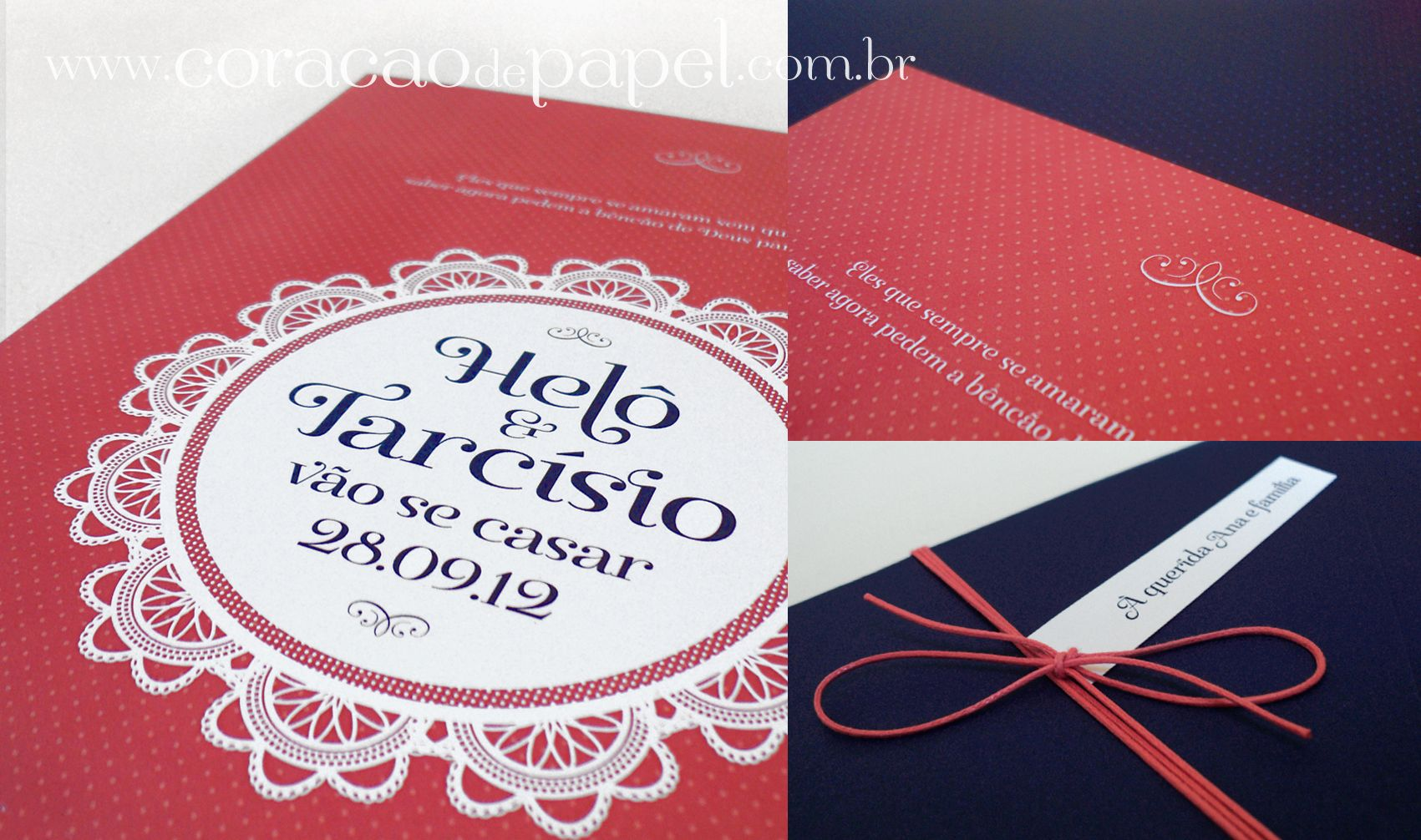 Guava + navy wedding invitation. Design: Marina Curak | Maybe ...