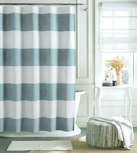 Tommy Hilfiger Cotton Shower Curtain Wide Stripes Fabric Shower