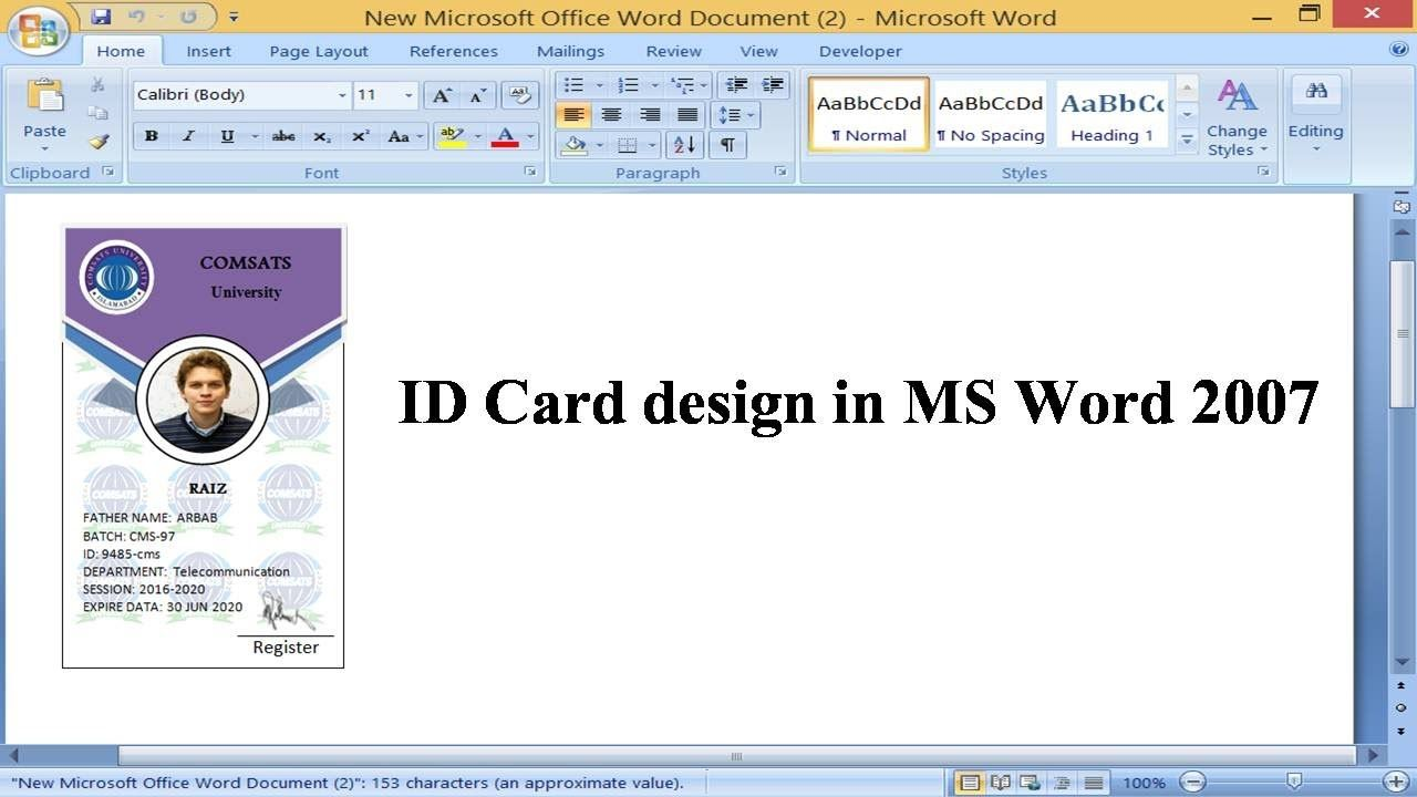 Student Id Card Design In Microsoft Word 2007 With Barcode Microsoft Word 2007 Word 2007 Card Design
