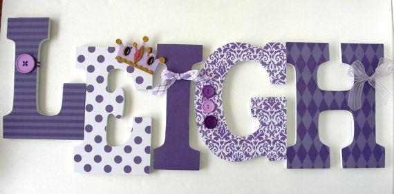 Baby Kinderzimmer Wand Buchstaben lila Prinzessin Theme