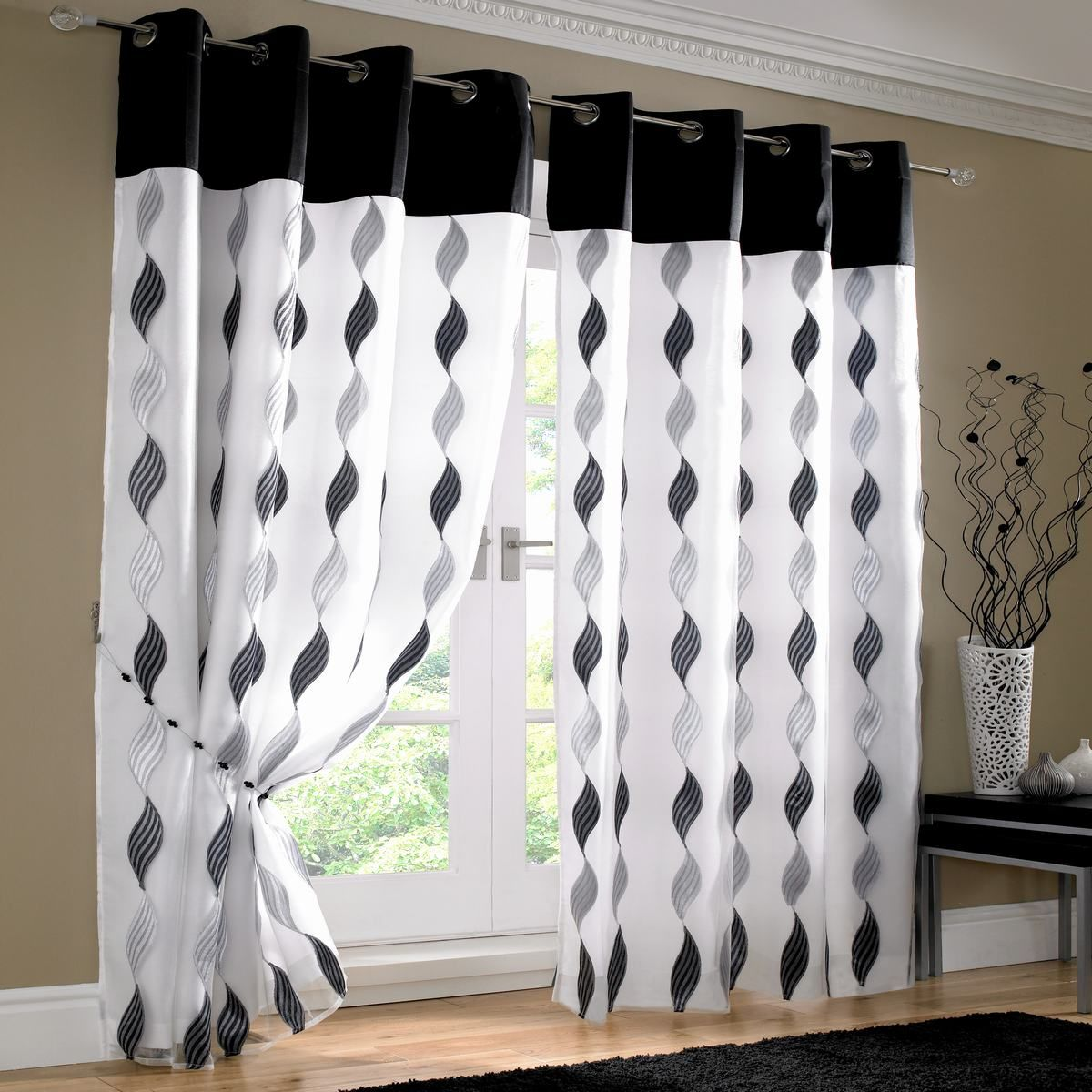 Black and white curtain - Voile Curtains Readymade Curtain Tab Top