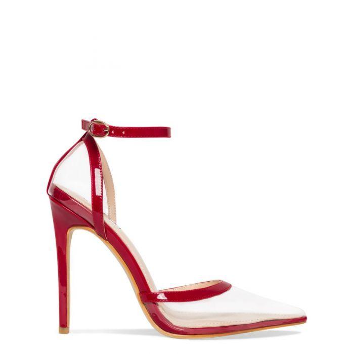 099e2b4937e22b Eva Clear Red Patent Stiletto Court Heels in 2019