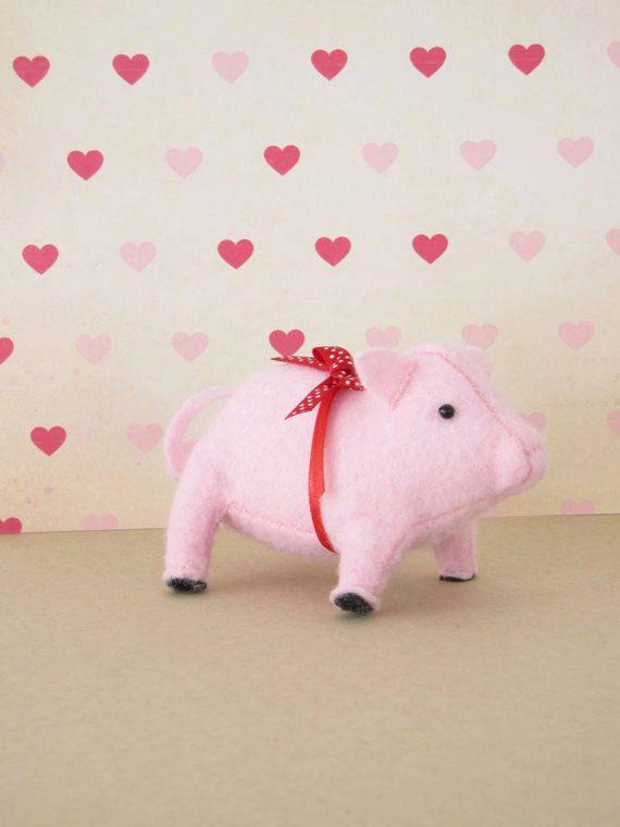 Prize Pig Hand-sewn Stuffed Animal  Felt by MelissaBeePatterns