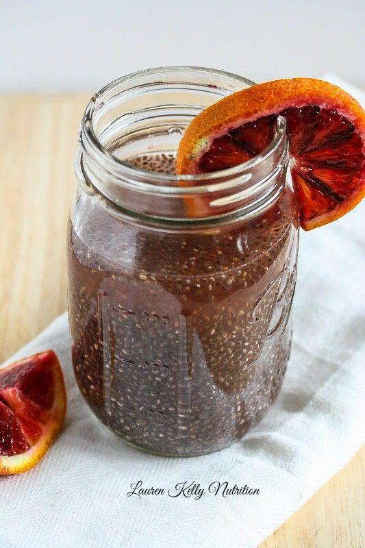 Photo of Blood Orange Green Tea Chia Energy Drink {Vegan, Dairy Free, Gluten Free, Easy to Make}