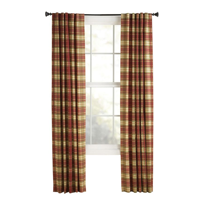 Brown plaid curtain panels -  13 97 Per Panel X4 Shop Style Selections Bernard 84 In L Plaid Red Back