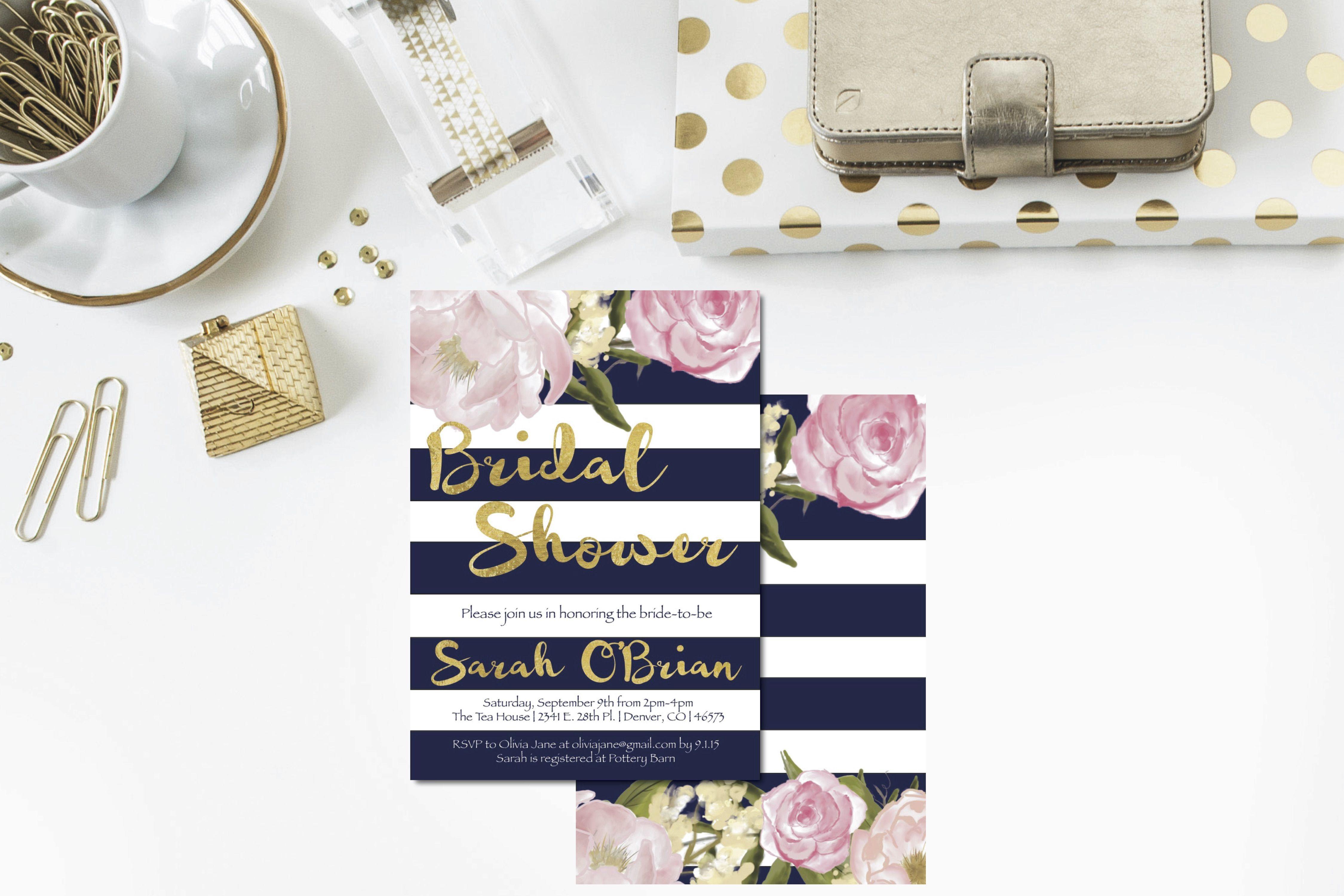 f1e0532d05bb Navy + Gold + Blush Bridal Shower Invitation