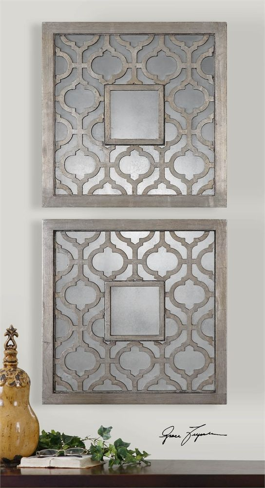 Uttermost Sorbolo Squares Decorative Mirror Set 2 Mirror Decor Wall Mirrors Set Traditional Wall Mirrors