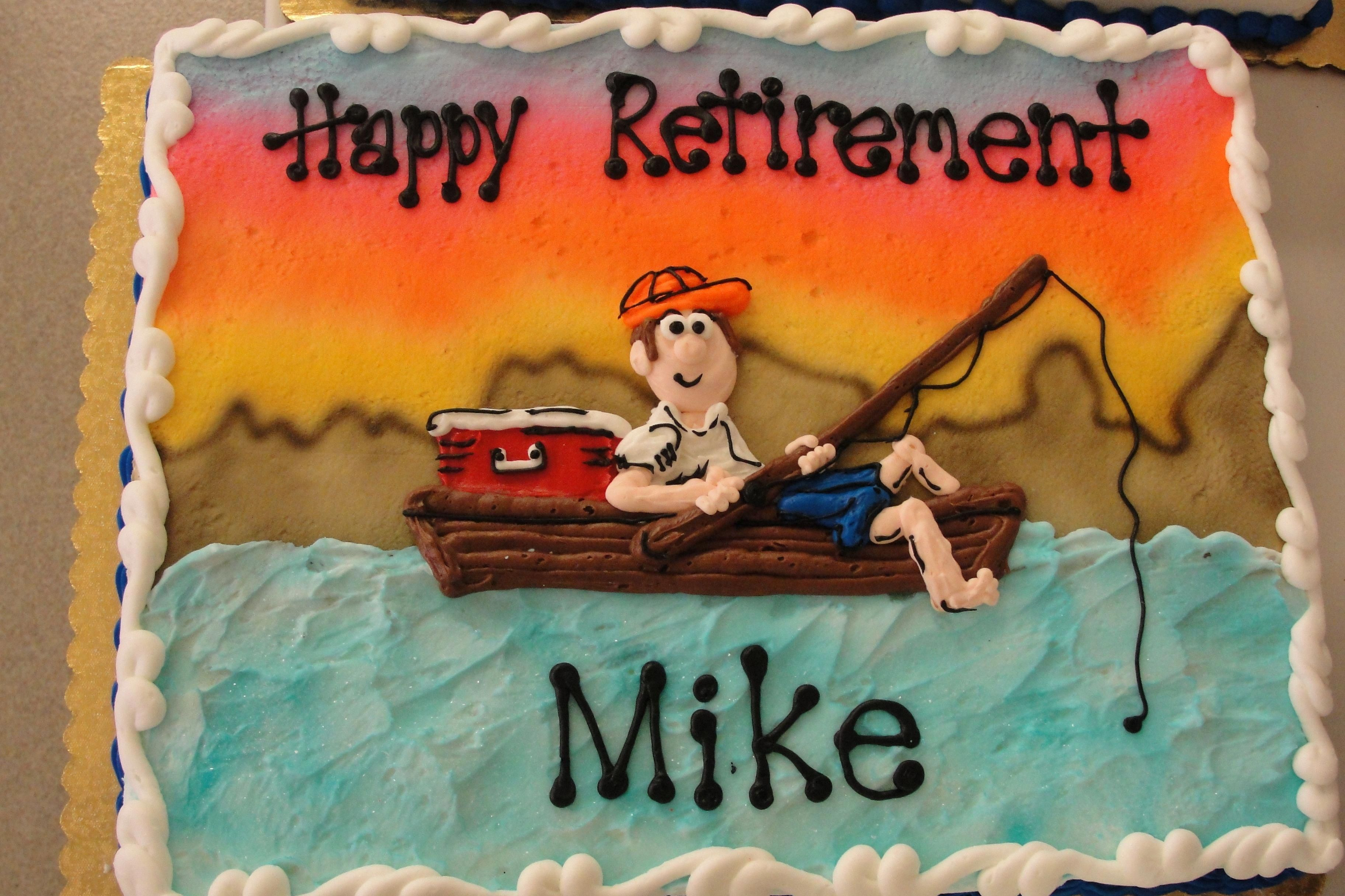 Fishing Sheet Cake In Buttercream With Images Retirement Party