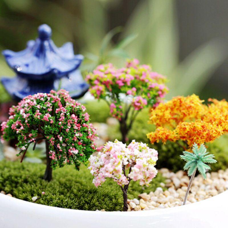 6X Miniature Tree DIY Ornament Decor Craft F/ Fairy Garden Dollhouse Plant  PotSL   EBay