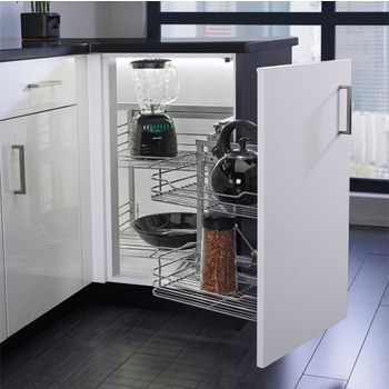 Organizer for Blind Corner Cabinets with Soft Close Slides by Rev-A-Shelf | KitchenSource.com