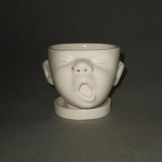 Small Baby Head Planter w/Nose Ring on Etsy, $35.00