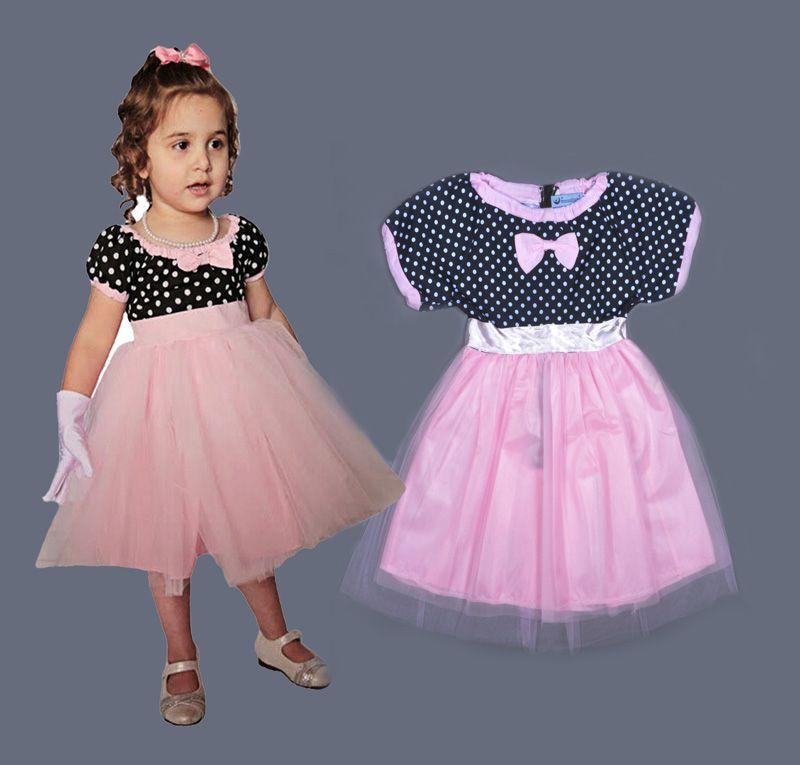 New 2016 baby girl dress Polka Dot bridesmaid girl dress Lace baby ...