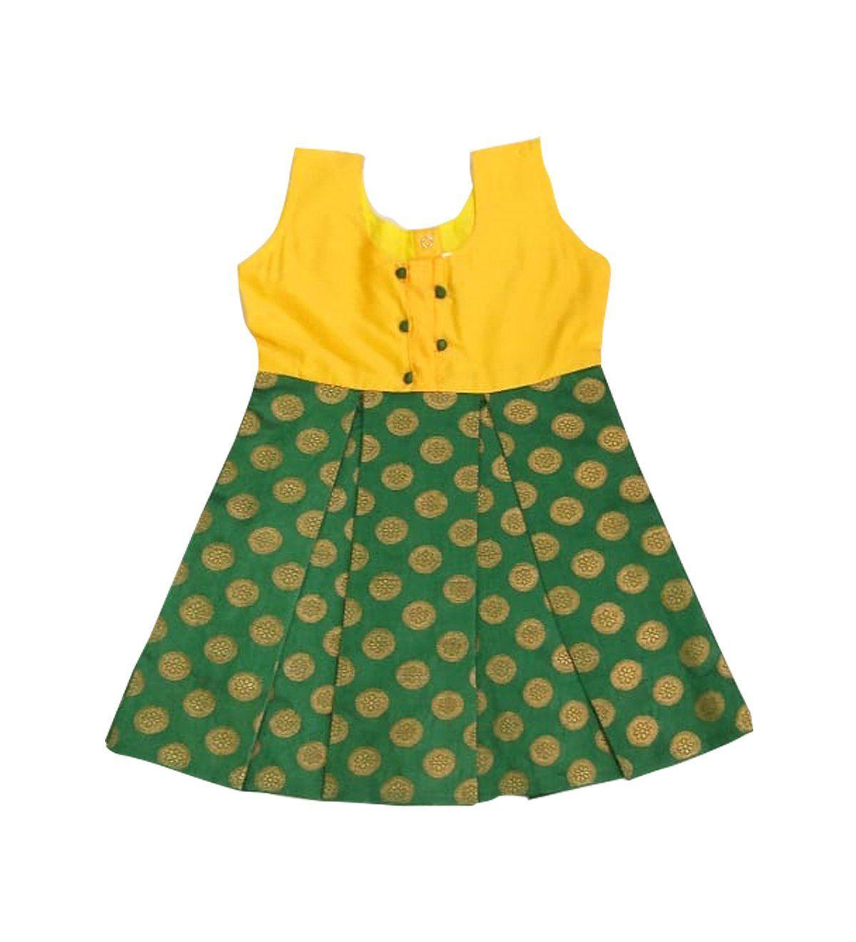 Pattu Pavadai New Born Baby Girl S Kids Banarasi Frock Yellow And Green 3 6 Months Pattupavadai Kids Gown Baby Girl Dress Patterns Kids Frocks Design