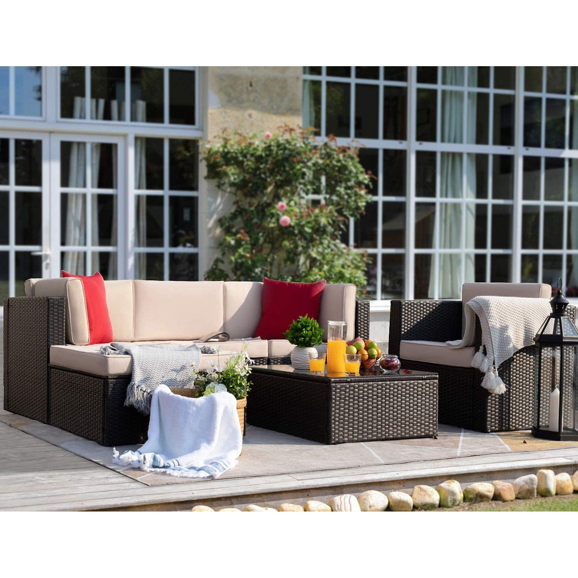 Walnew 6 Pieces Patio Furniture Set Outdoor Sectional Sofa Outdoor Furniture Beige Walmart Com Walmart Com In 2020 Patio Furniture Sets Patio Patio Furniture