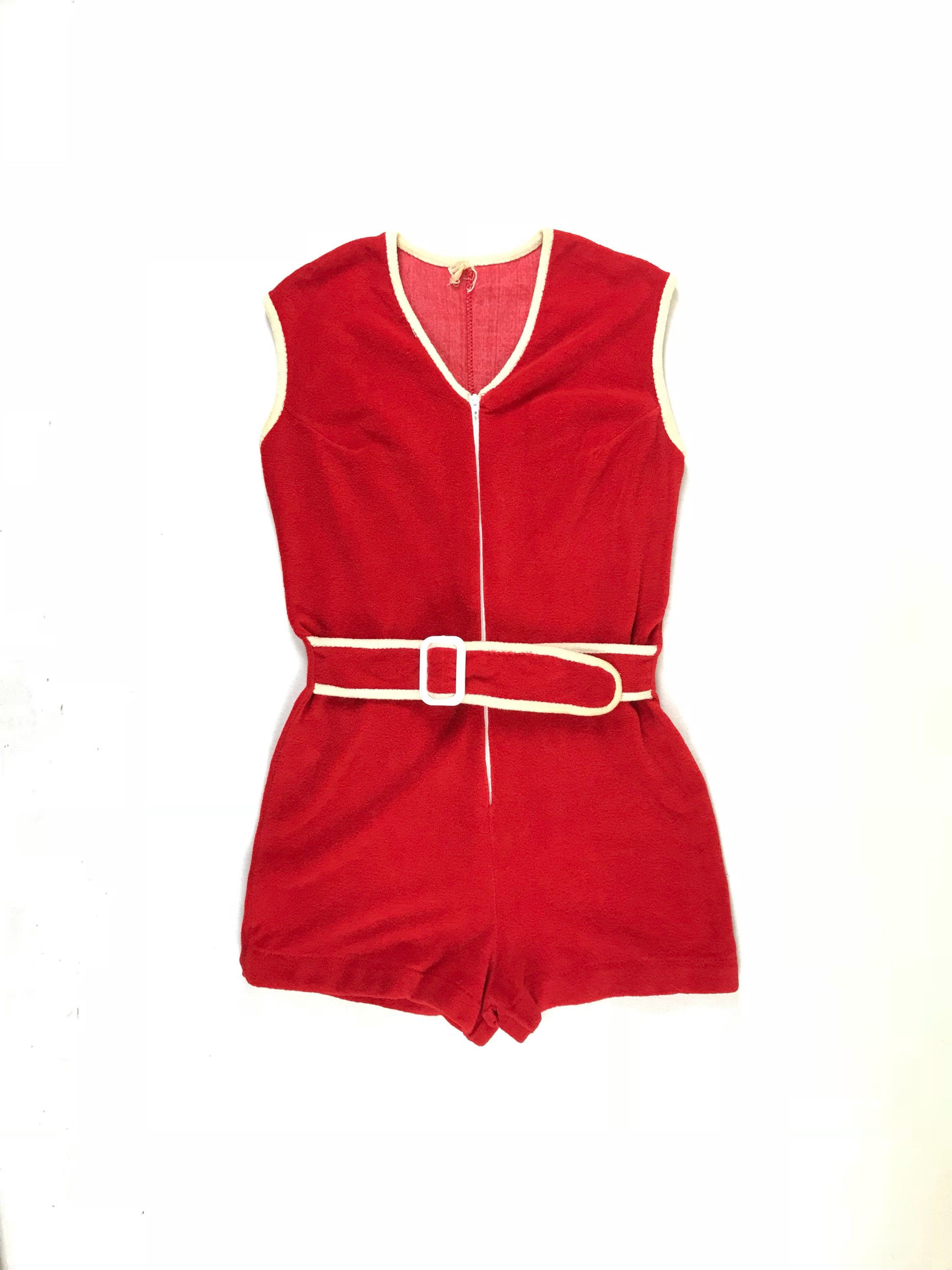 8a8efbdc2a 1950s 60s mod romper vintage cherry red terry cloth belted romper 1960s hot  pants 50s playsuit sleeveless zip front nautical romper 30s 40s