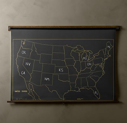 Military Chalkboard US Map