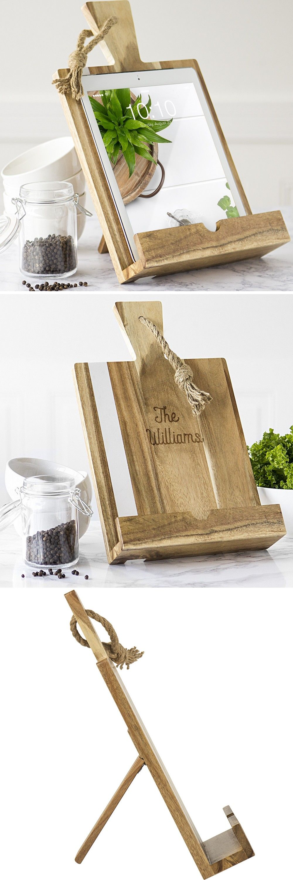 Personalized Marble Accented Acacia Wood Recipe Stand Recipe Book Stand Recipe Book Holders Recipe Book Holder Diy