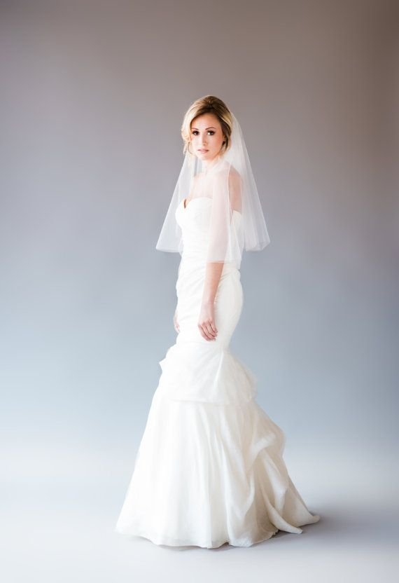 Two-Tiered Elbow Length Wedding Veil, Elbow Length Bridal Veil ...