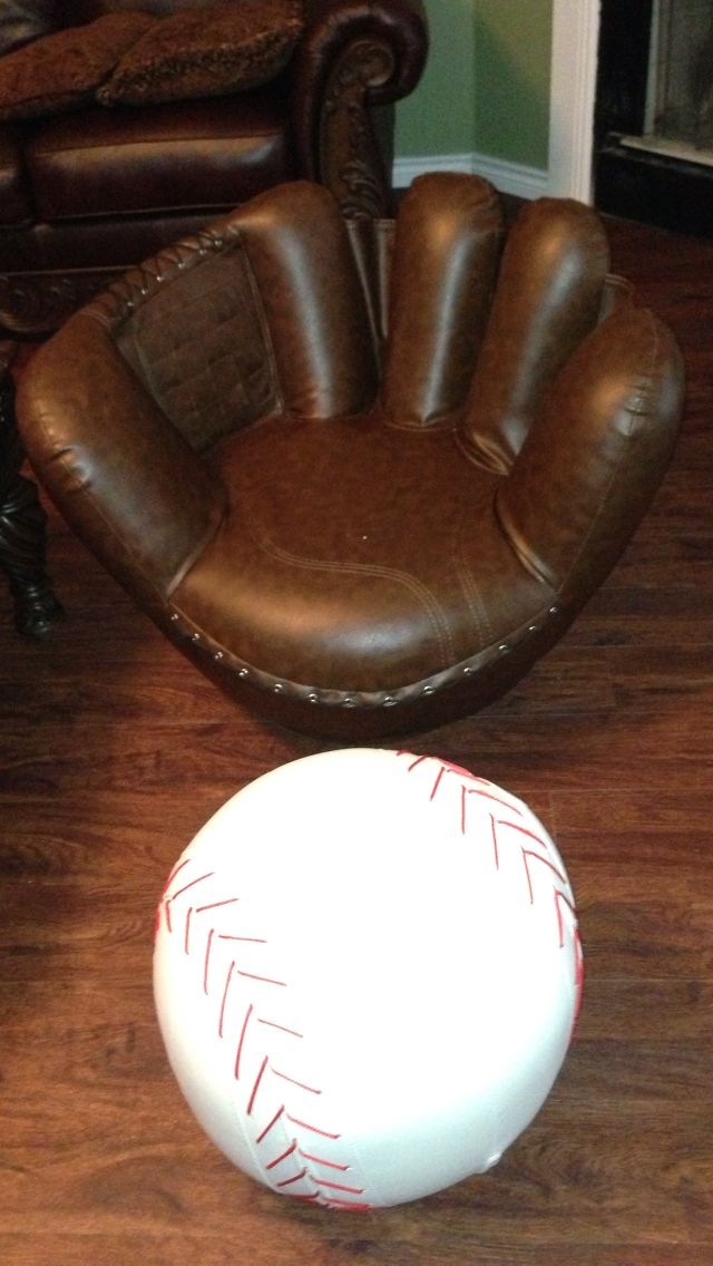 Incredible Baseball Chair And Ottoman Love It In My Home Boy Room Inzonedesignstudio Interior Chair Design Inzonedesignstudiocom