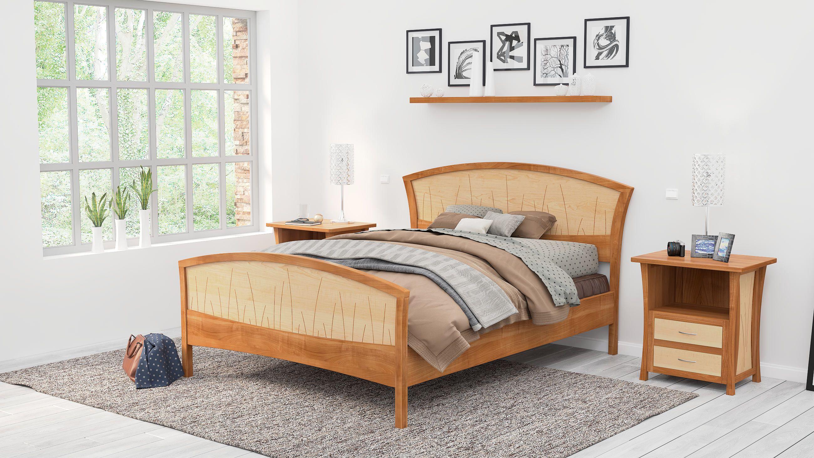 Bed Frame King Size, Headboard, Platform Bed, Queen, Art