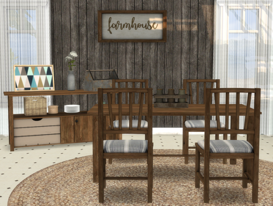 Blooming Rosy Archive Ts4 Farmhouse Dining By Michelleab 6 New Meshes Sims House Design Farmhouse Dining Sims 4 Kitchen