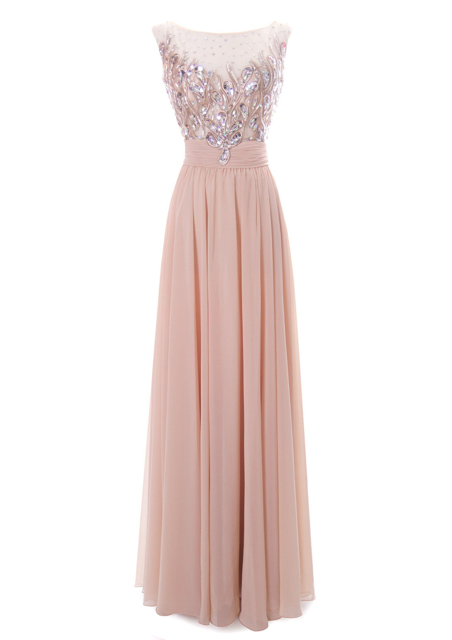 Fiesta Formals Shimmering Embroidered Formal Gown Nude 3XL | Vestido ...