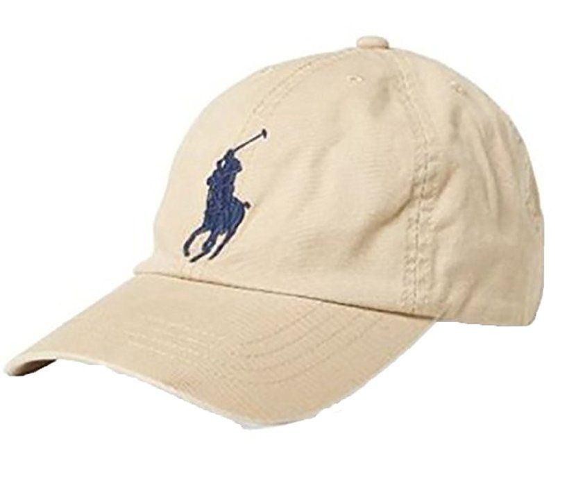 dfa53106783 RALPH LAUREN Polo Men Big Pony Logo Hat (Beige) at Amazon Men s Clothing  store