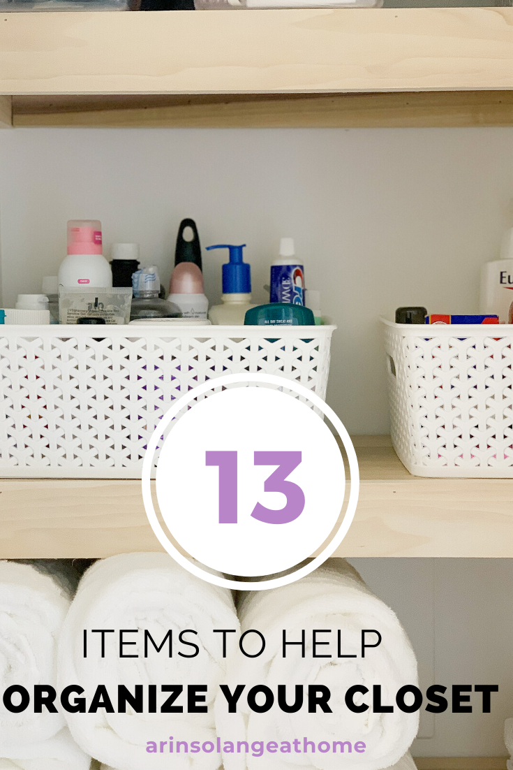 Here ar 13 items to help you get your closet organized! Works for a bedroom closet or hall linen closet, big or small. Containers, baskets, bins, and more! How to get organize your closet!