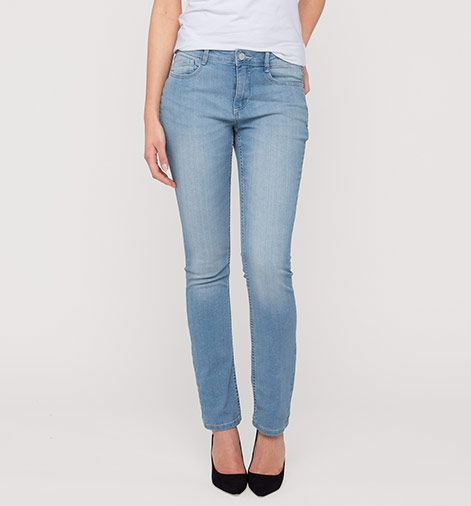 Frontimage View The Slim In Jeans Hellblau Modestil Tuch Mode