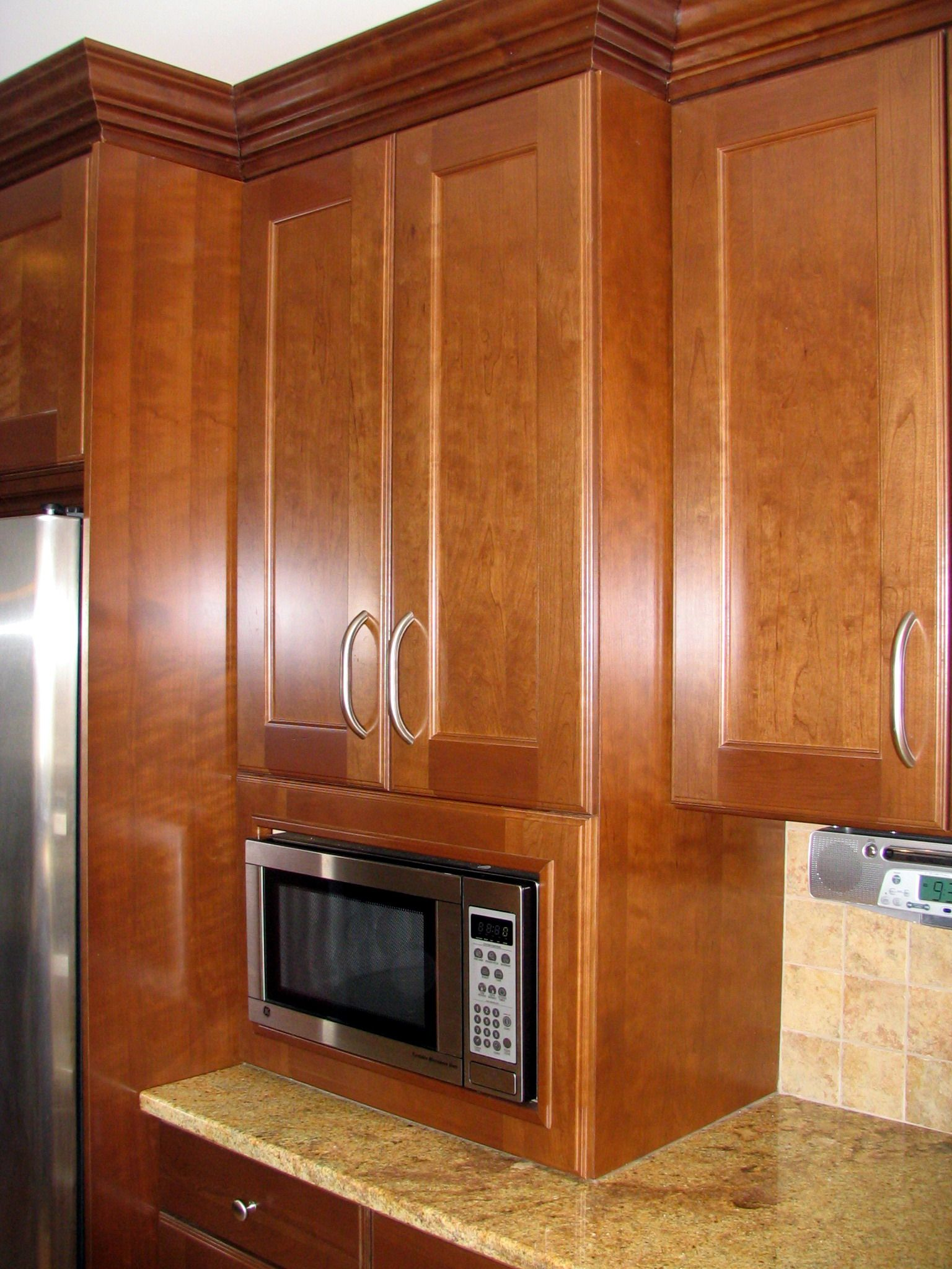 Built In Microwave Cabinet To Countertop This Is A Great Height For The Mw And Extra Depth Of Provides Pantry Like Storage