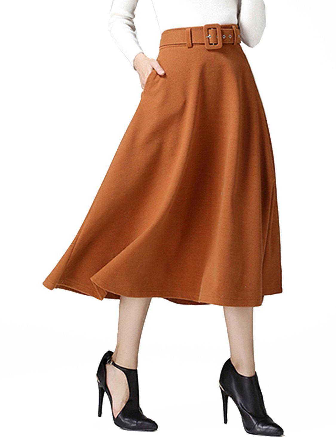 1fd53babae36 Choies Womens Woolen Brown Vintage High Waist Flared Swing Midi Skirt With  Belt L *** Check out the image by visiting the link. (This is an affiliate  link)