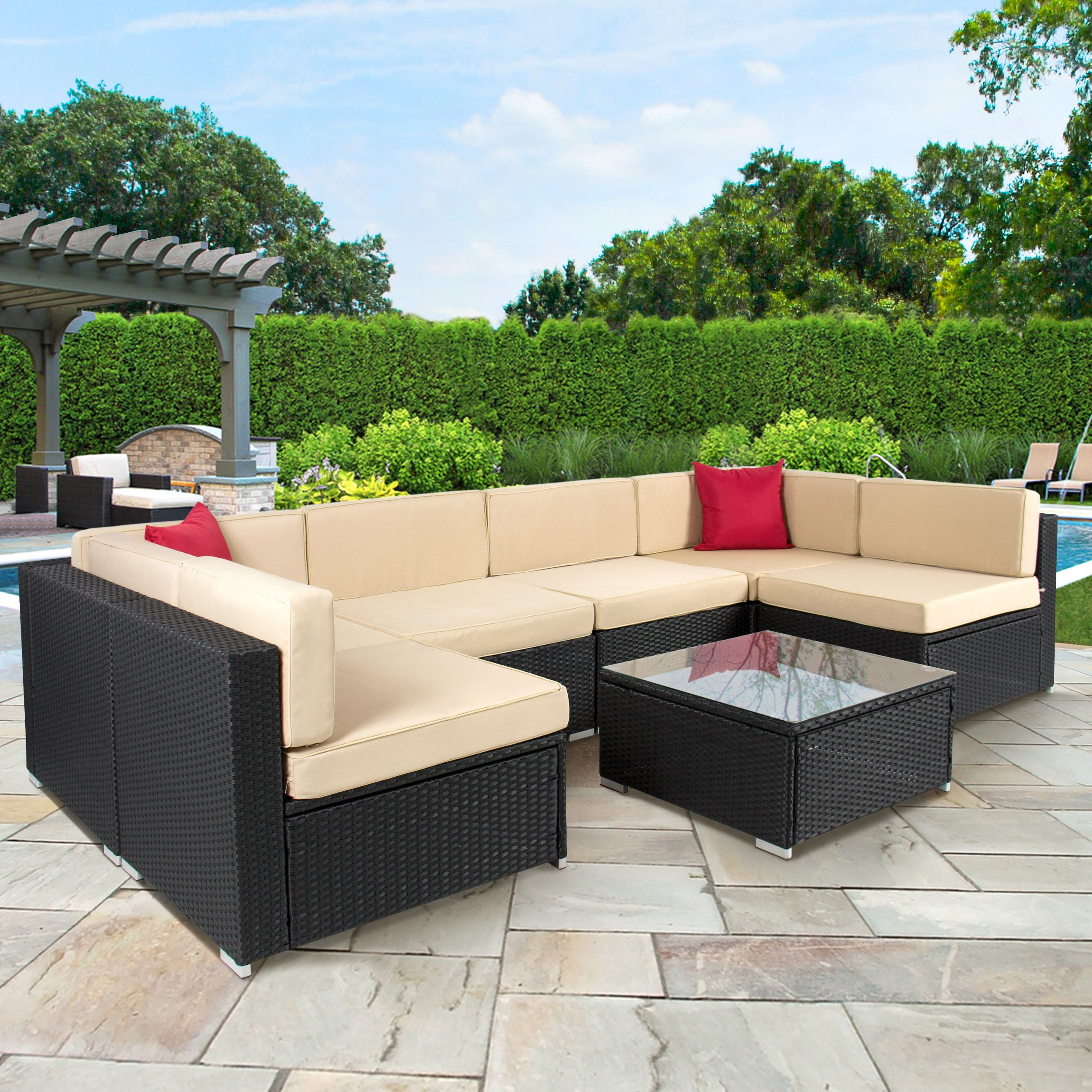 7pc outdoor patio garden wicker furniture rattan sofa set sectional