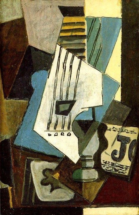 Pablo Picasso, 1914 Nature morte- Guitare, journal, verre et as de ...