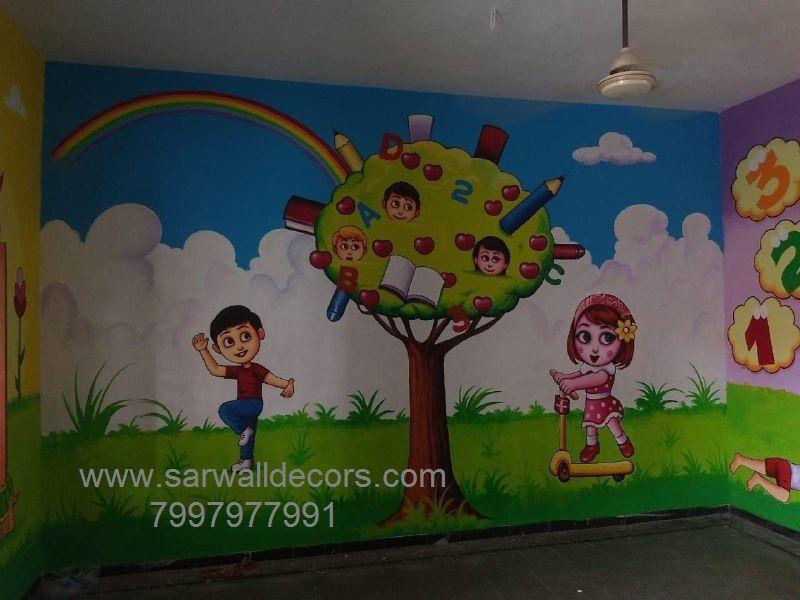 Nursery Class Wall Decoration Art Service Hyderabad School Wall