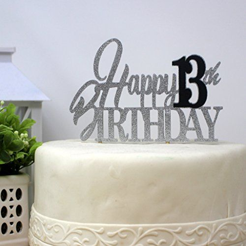 All About Details Happy 13th Birthday Cake Topper Black Silver