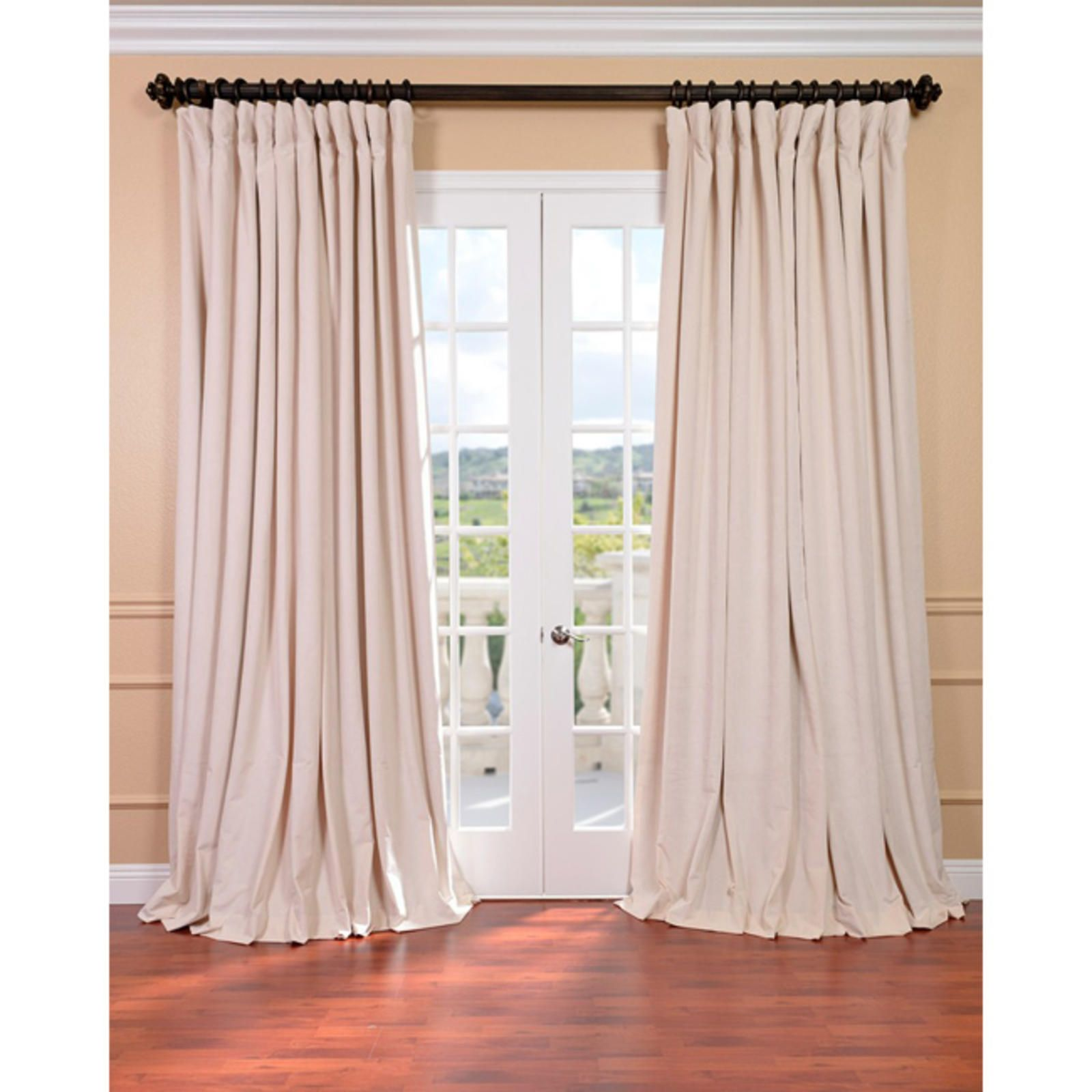 EFF Ivory Velvet Blackout Extra Wide Curtain Panel