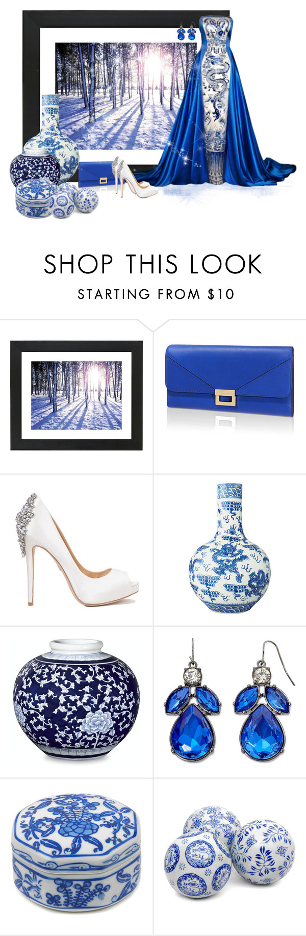 """""""Ice Princess"""" by wendywantsmoreclothes ❤ liked on Polyvore featuring Universal Lighting and Decor, Tod's, Badgley Mischka, OKA, Williams-Sonoma, Mixit, gown and RoyalBlue"""