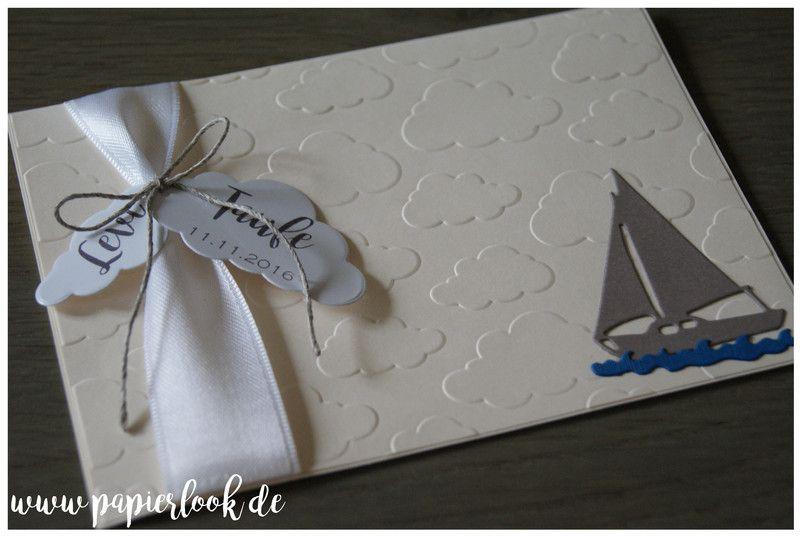Einladungskarten Zur Taufe, Kommunion Etc., Gestaltet Mit Einem Kleinen Boot.  Der Hintergrund