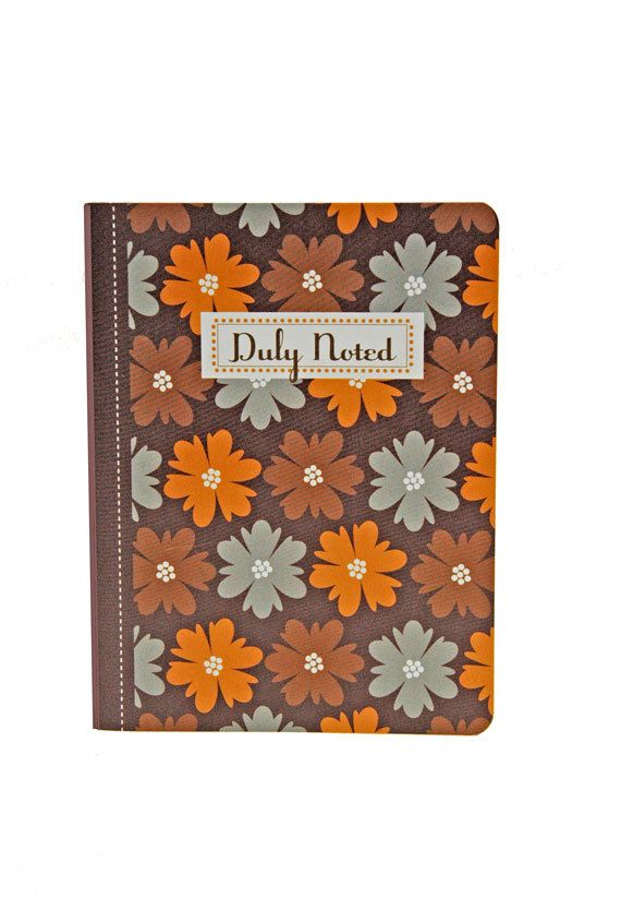 Earth Toned Floral Jotter Captioned Duly Noted Yellow Orange