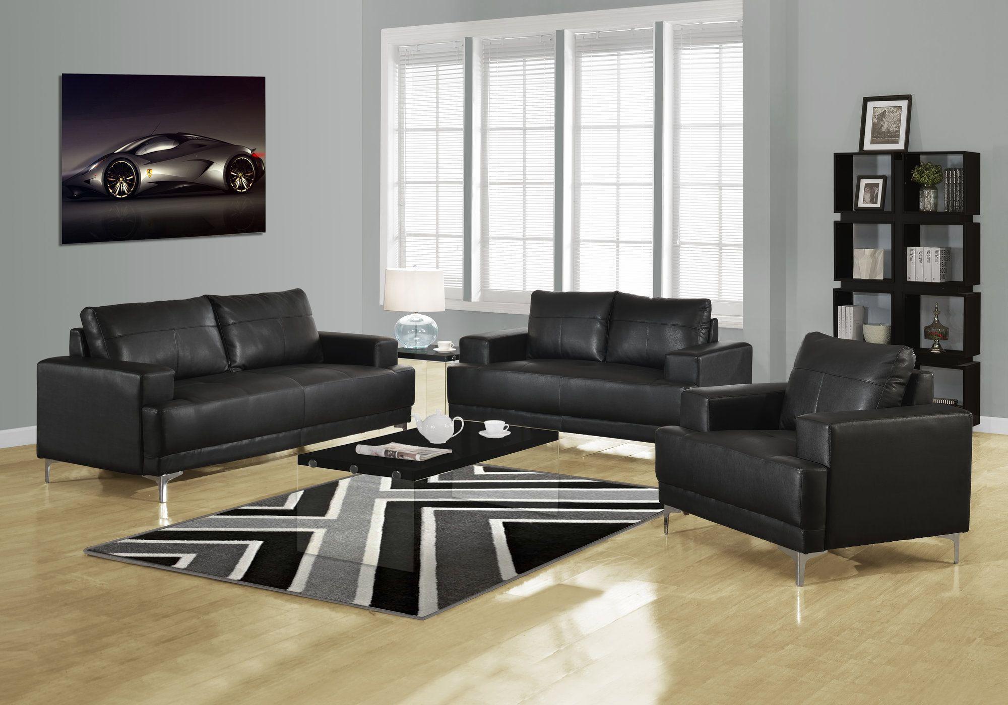 Black bonded leather living room set leather living room