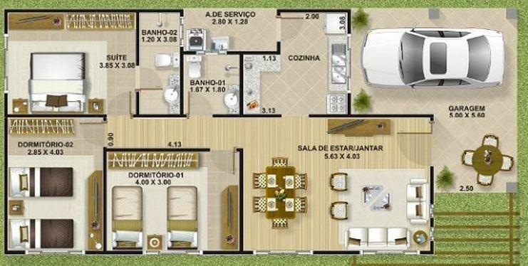 Resultado de imagen para planos de casas modernas casa for Casa moderna de 50 m2