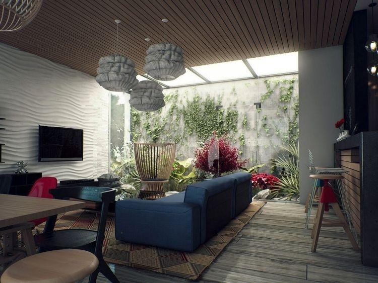 vertikaler-garten-wohnzimmer-modern-interieur-couch-dunkelblau