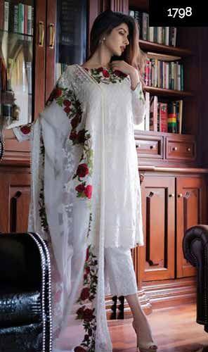 ba19943129 WYJB-1798-FULL EMBROIDERY Designer 3pc CHIFFON Suit With CHIFFON Dupatta -  PARTY WEAR DRESS