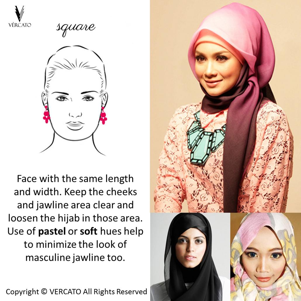 d6baa1c0 Hijab Tips for SQUARE face shape. SHOP MUSLIMAH WEAR: www.vercato.com