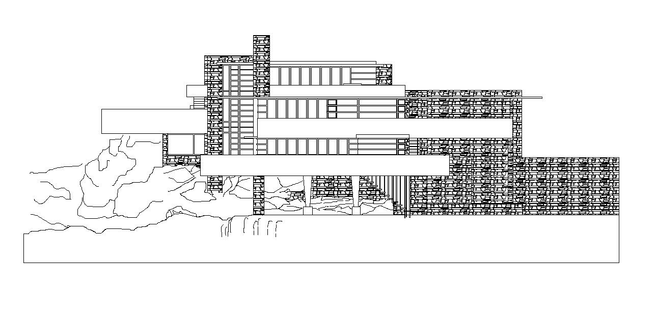 Falling water frank lloyd wright the dwg files are compatible back to autocad 2000 these autocad drawings are available to purchase and download now