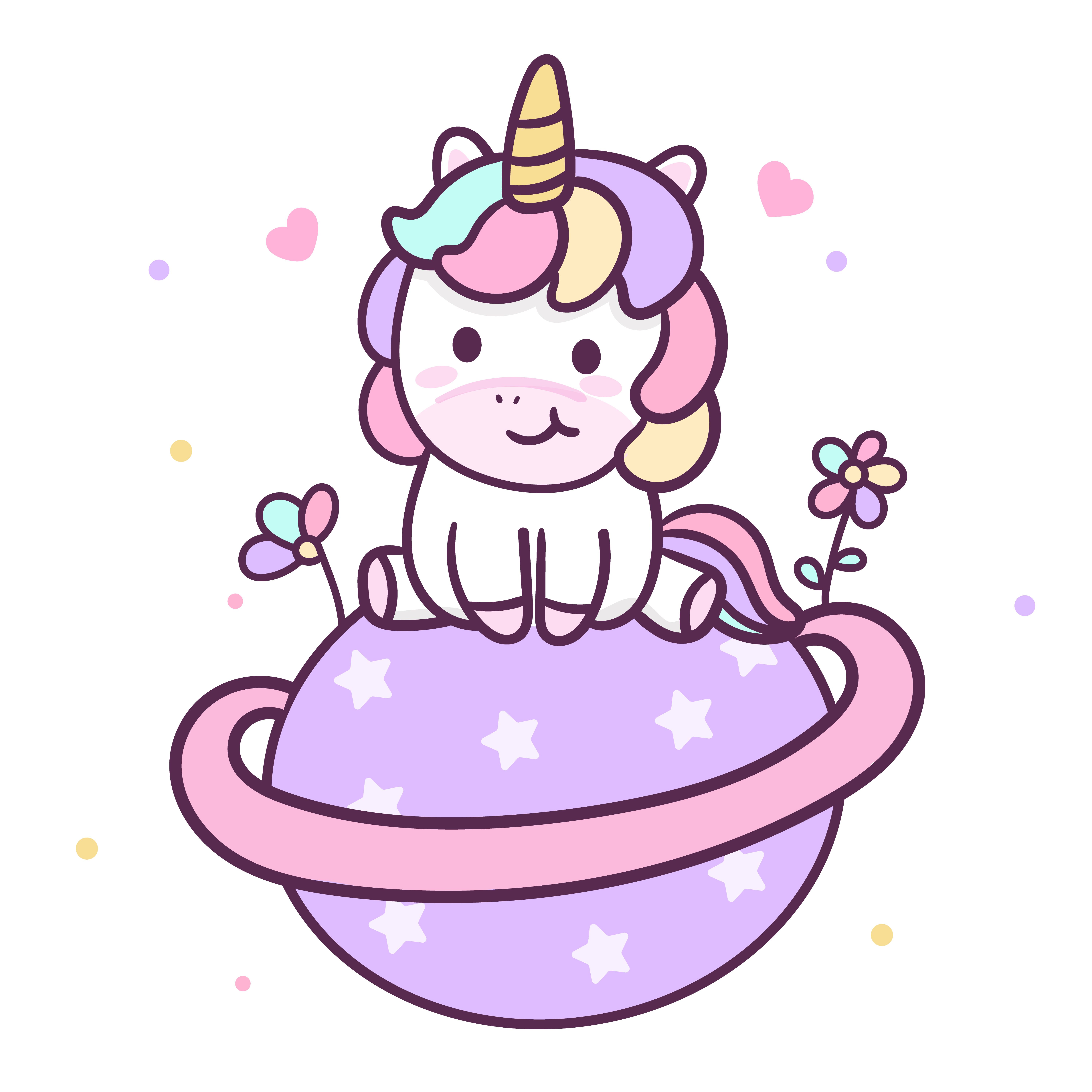 Cute Unicorn Vector Sweet Dream Cartoon With Pastel Color Little