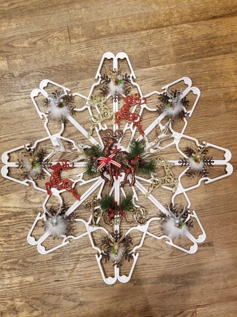 Clothes hanger Snowflake  Deer theme #hangersnowflake Clothes hanger Snowflake  Deer theme #hangersnowflake