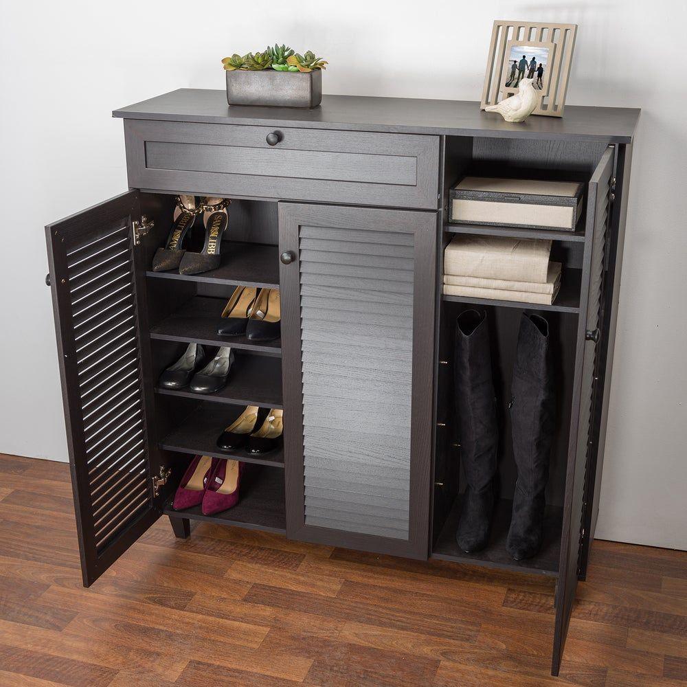 Porch Den Rocheblave Espresso Wood Shoe Storage Cabinet In 2020